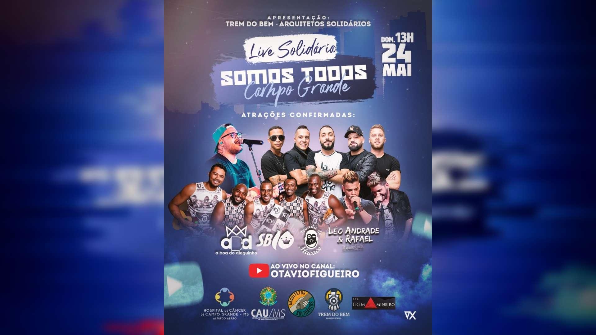 AMIGOS E EMPRESÁRIOS SOMAM FORÇAS PARA UMA GRANDE LIVE SOLIDÁRIA em Campo Grande, no próximo Domingo.